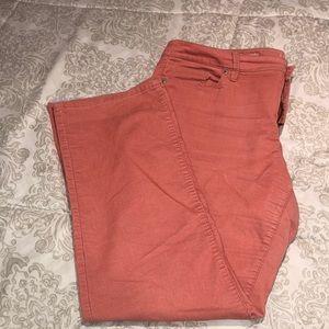 Coral Corduroy  Straight Pants